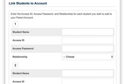 links to student account
